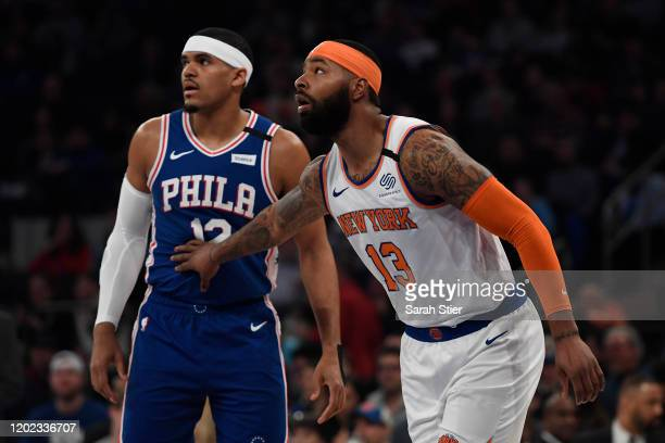 Marcus Morris Sr #13 of the New York Knicks guards Tobias Harris of the Philadelphia 76ers during the first half at Madison Square Garden on January...