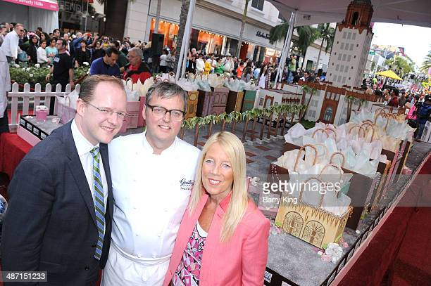 Marcus Mueller chef Donald Wressell and Mayor of Beverly Hills Lili Bosse attend the Beverly Hills Centennial Block Party on April 27 2014 in Beverly...
