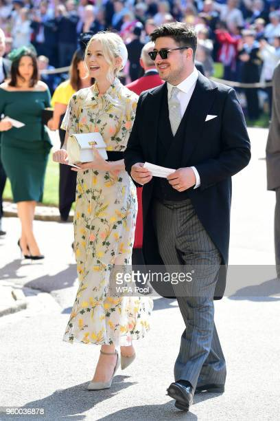 Marcus Mumford and Carey Mulligan arrive at St George's Chapel at Windsor Castle before the wedding of Prince Harry to Meghan Markle on May 19 2018...
