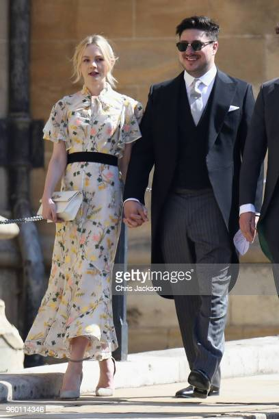 Marcus Mumford and Carey Mulligan arrives at the wedding of Prince Harry to Ms Meghan Markle at St George's Chapel Windsor Castle on May 19 2018 in...