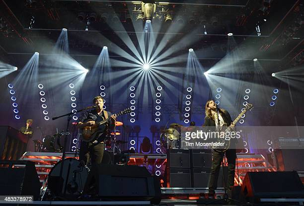 Marcus Mumford and Winston Marshall of Mumford Sons perform during the Outside Lands Music And Arts Festival at Golden Gate Park on August 7 2015 in...