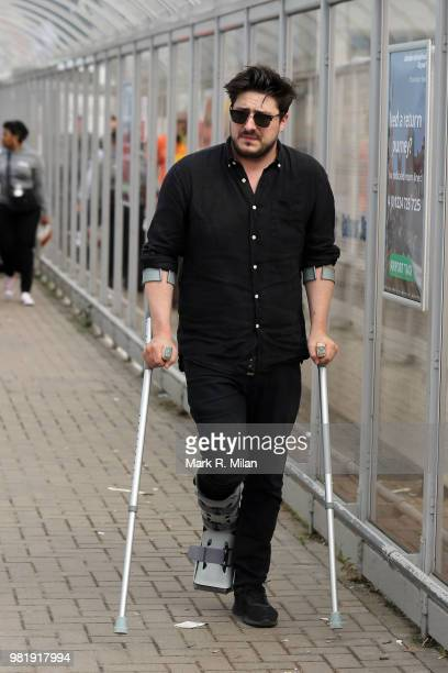 Marcus Mumford arriving at Aberdeen Airport before the wedding of Kit Harrington and Rose Leslie on June 23 2018 in Aberdeen Scotland