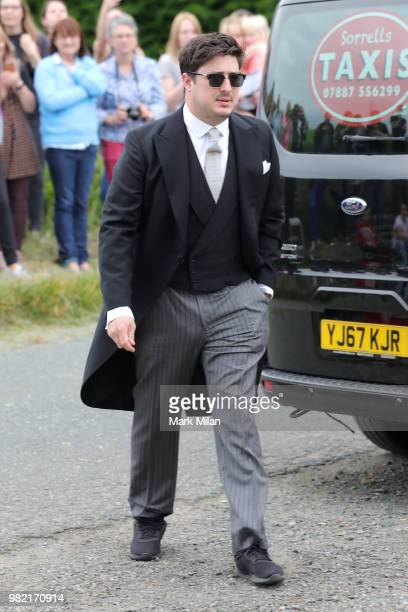 Marcus Mumford arriving at Rayne Church in Kirkton on Rayne for the wedding of Kit Harrington and Rose Leslie on June 23 2018 in Aberdeen Scotland