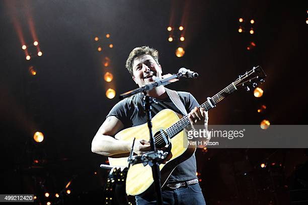 Marcus Mumford of Mumford and sons performs at Sheffield Arena on November 29 2015 in Sheffield England
