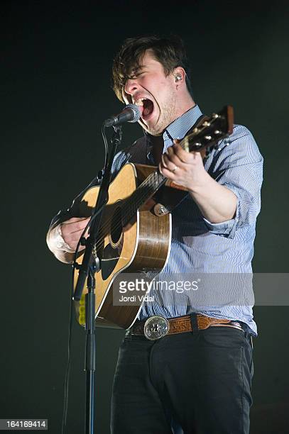 Marcus Mumford of Mumford and Sons performs on stage in concert at Razzmatazz on March 20 2013 in Barcelona Spain