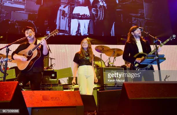 Marcus Mumford of Mumford Sons and Winston Marshall of Winston Marshall perform onstage with Maggie Rogers during iHeartRadio ALTer Ego 2018 at The...