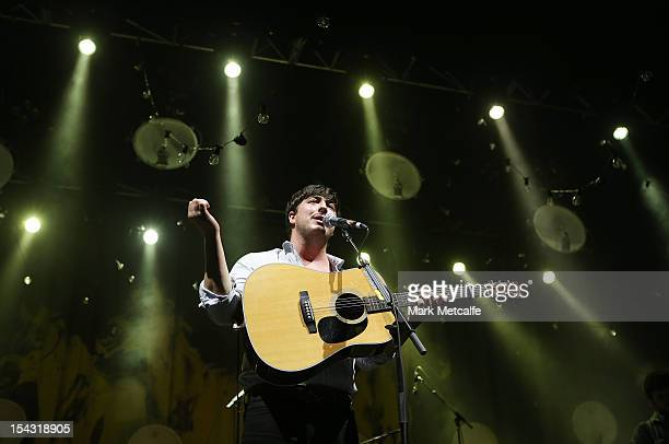 Marcus Mumford of Mumford & Sons peforms for fans at Sydney Entertainment Centre on October 18, 2012 in Sydney, Australia.