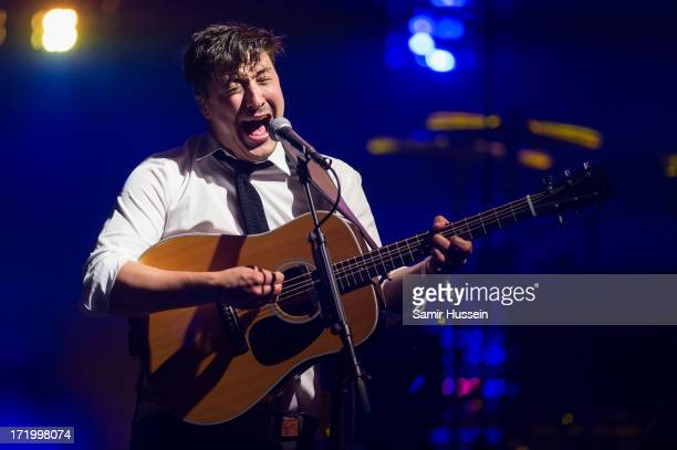 Marcus Mumford of Mumford Sons performs as the headline the Pyramid Stage at the Glastonbury Festival of Contemporary Performing Arts at Worthy Farm...