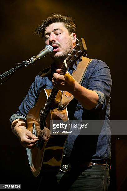 Marcus Mumford of Mumford Sons performs during their Gentlemen on the Road Tour at DTE Energy Music Theater on June 16 2015 in Clarkston Michigan