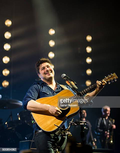Marcus Mumford of Mumford Sons performs live on stage at The O2 Arena on December 10 2015 in London England