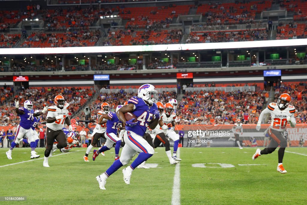 Marcus Murphy #45 of the Buffalo Bills runs the ball down to the goal line in the second quarter of a preseason game against the Cleveland Browns at FirstEnergy Stadium on August 17, 2018 in Cleveland, Ohio.