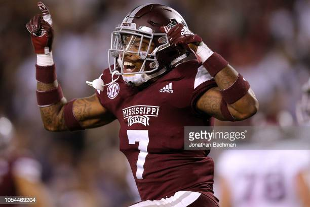 Marcus Murphy of the Mississippi State Bulldogs reacts during the second half against the Texas AM Aggies at Davis Wade Stadium on October 27 2018 in...