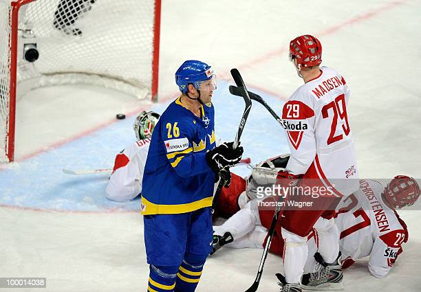 Marcus Nilson of Sweden celebrates after scoring the 10 during the IIHF World Championship quarter final match between Sweden and Denmark at SAP...