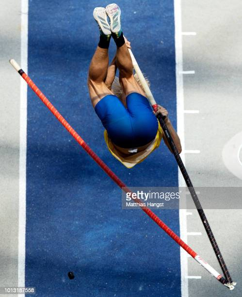 Marcus Nilsson of Sweden breaks his pole while competing in the Men's Decathlon Pole Vault during day two of the 24th European Athletics...