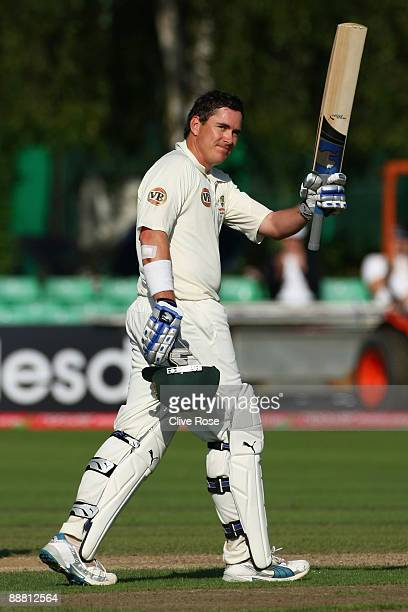 Marcus North of Australia celebrates his century during the Ashes warmup match between England Lions and Australia at New Road on July 3 2009 in...