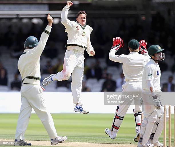 Marcus North of Australia celebrates the wicket of Umar Akmal of Pakistan during day four of the First Test between Pakistan and Australia at Lords...