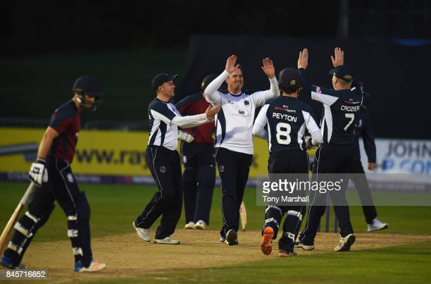 Marcus North of South Northumberland Cricket Club celebrates dismissing Oliver Swan of Wimbledon Cricket Club bats during the Final Match of the ECB...