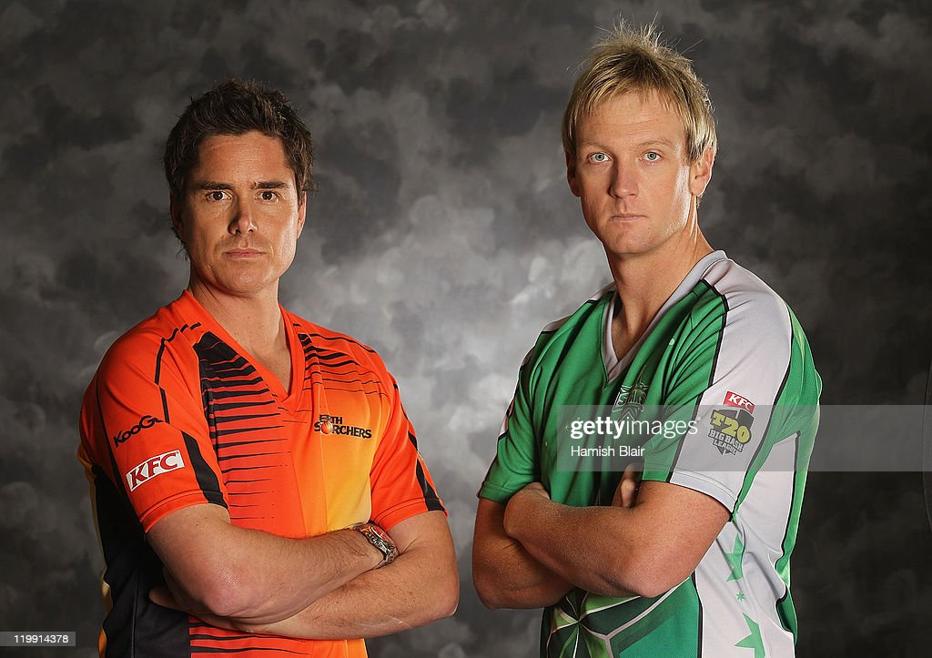 Marcus North (L) of the Perth Scorchers and Cameron White of the Melbourne Stars pose for a portrait ahead of the launch of the KFC T20 Big Bash League on July 27, 2011 in Sydney, Australia.