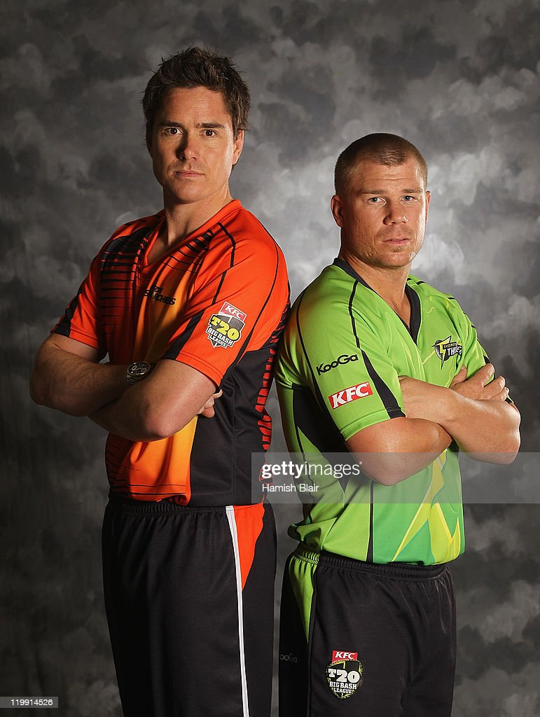 Marcus North (L) of the Perth Scorchers and David Warner of the Sydney Thunder pose for a portrait ahead of the launch of the KFC T20 Big Bash League on July 27, 2011 in Sydney, Australia.