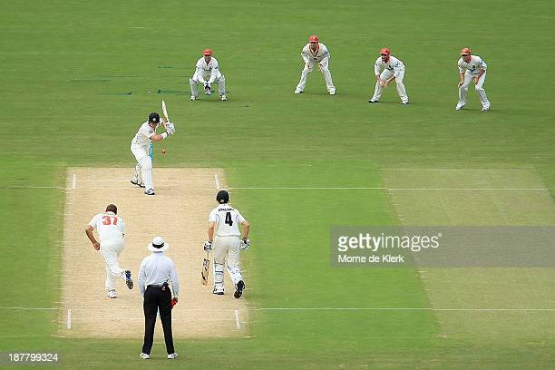 Marcus North of the Warriors bats during day one of the Sheffield Shield match between the Redbacks and the Warriors at Adelaide Oval on November 13...