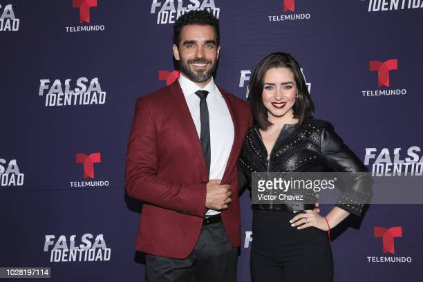 Marcus Ornellas and Ariadne Diaz attend 'Falsa Identidad' Telemundo series premiere at Argos Comunicacion on September 6 2018 in Mexico City Mexico