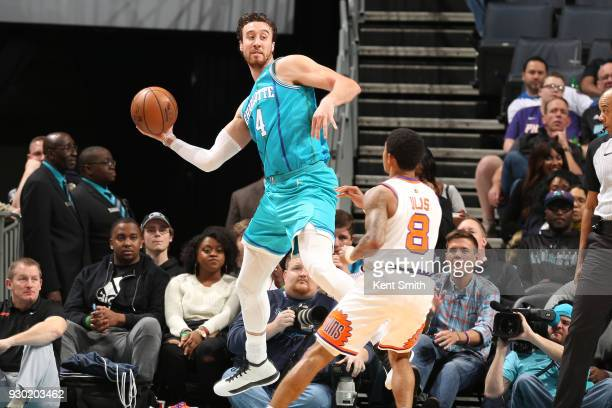 Marcus Paige of the Charlotte Hornets passes the ball during the game against the Phoenix Suns on March 10 2018 at Spectrum Center in Charlotte North...