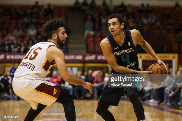 Marcus Paige of the Greensboro Swarm handles the ball against the Canton Charge on January 27 2018 at Canton Memorial Civic Center in Canton Ohio...