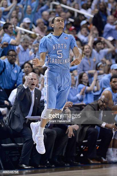 Marcus Paige of the North Carolina Tar Heels reacts after a basket against the Notre Dame Fighting Irish during the 2015 ACC Basketball Tournament...