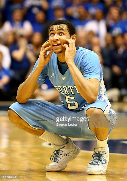 Marcus Paige of the North Carolina Tar Heels reacts after a call during their game against the Duke Blue Devils at Cameron Indoor Stadium on March 8,...