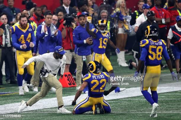 Marcus Peters of the Los Angeles Rams reacts against the New England Patriots in the second half during Super Bowl LIII at MercedesBenz Stadium on...