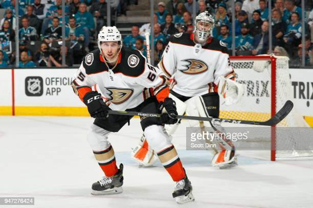 Marcus Pettersson and John Gibson of the Anaheim Ducks look in Game Three of the Western Conference First Round against the San Jose Sharks during...