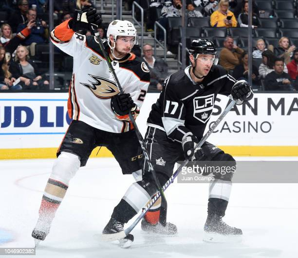 Marcus Pettersson of the Anaheim Ducks and Ilya Kovalchuk of the Los Angeles Kings battle for position during the third period of the preseason game...