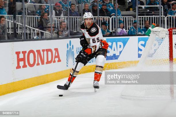 Marcus Pettersson of the Anaheim Ducks controls the puck against the San Jose Sharks in Game Three of the Western Conference First Round during the...