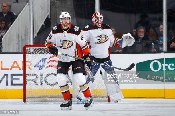 Marcus Pettersson of the Anaheim Ducks defends against the San Jose Sharks at SAP Center on September 19 2017 in San Jose California