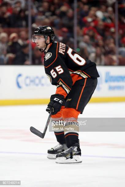 Marcus Pettersson of the Anaheim Ducks looks on during the second period of a game against the Chicago Blackhawks at Honda Center on March 4 2018 in...
