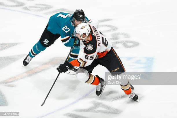 Marcus Pettersson of the Anaheim Ducks skates against Joonas Donskoi of the San Jose Sharks in Game Three of the Western Conference First Round...