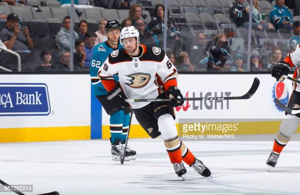 Marcus Pettersson of the Anaheim Ducks skates against the San Jose Sharks at SAP Center on September 19 2017 in San Jose California