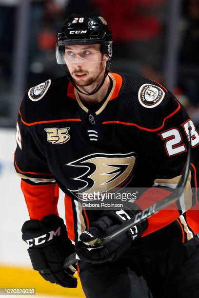 Marcus Pettersson of the Anaheim Ducks skates in warmups prior to the game against the Colorado Avalanche on November 18 2018 at Honda Center in...
