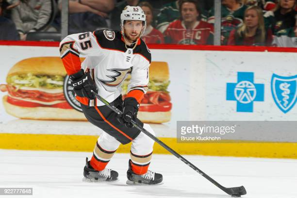 Marcus Pettersson of the Anaheim Ducks skates with the puck against the Minnesota Wild during the game at the Xcel Energy Center on February 17 2018...