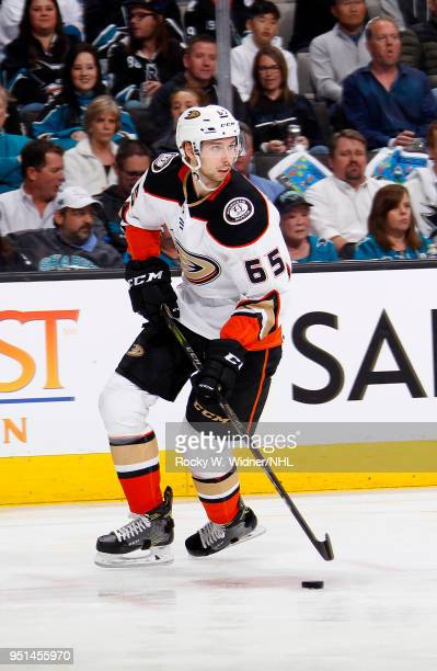 Marcus Pettersson of the Anaheim Ducks skates with the puck against the San Jose Sharks in Game Four of the Western Conference First Round during the...