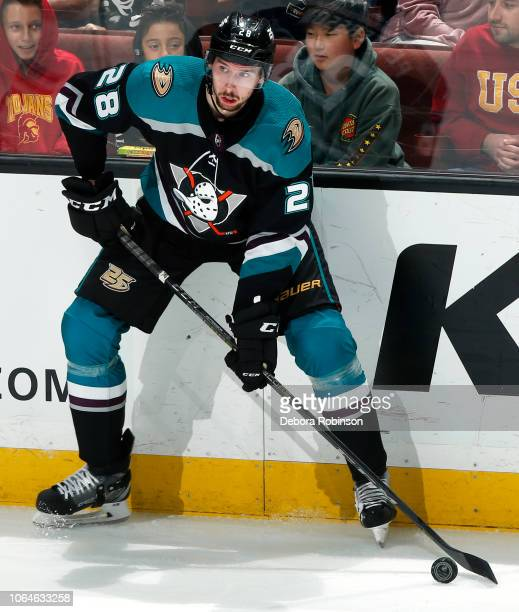 Marcus Pettersson of the Anaheim Ducks skates with the puck during the game against the Edmonton Oilers on November 23 2018 at Honda Center in...