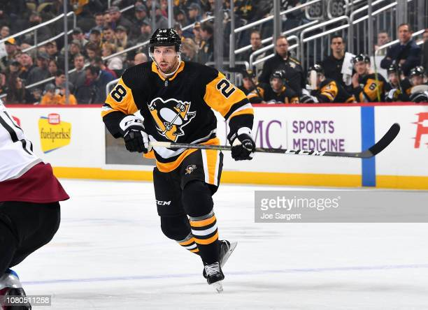 Marcus Pettersson of the Pittsburgh Penguins skates against the Colorado Avalanche at PPG Paints Arena on December 4 2018 in Pittsburgh Pennsylvania