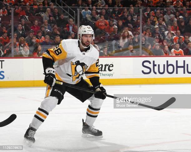 Marcus Pettersson of the Pittsburgh Penguins skates against the Philadelphia Flyers at the Wells Fargo Center on February 11 2019 in Philadelphia...
