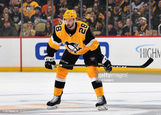Marcus Pettersson of the Pittsburgh Penguins skates against the Edmonton Oilers at PPG Paints Arena on February 13 2019 in Pittsburgh Pennsylvania