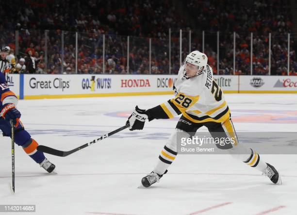 Marcus Pettersson of the Pittsburgh Penguins skates against the New York islanders in Game One of the Eastern Conference First Round during the 2019...