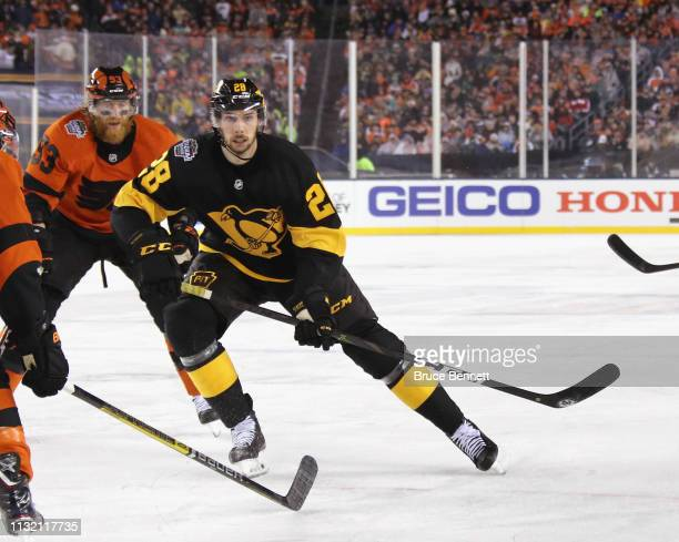 Marcus Pettersson of the Pittsburgh Penguins skates against the Philadelphia Flyers during the 2019 Coors Light NHL Stadium Series game at the...