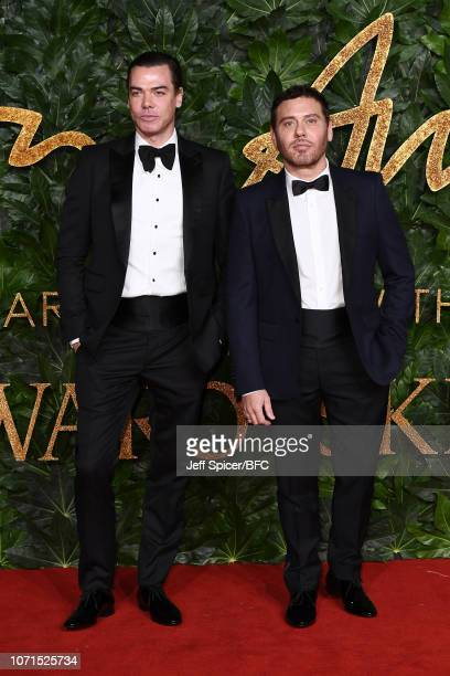 Marcus Piggott and Mert Alas arrive at The Fashion Awards 2018 In Partnership With Swarovski at Royal Albert Hall on December 10, 2018 in London,...