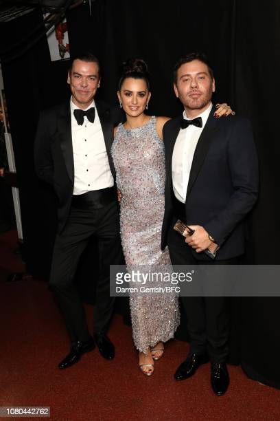 Marcus Piggott, Penelope Cruz and Mert Alas backstage during The Fashion Awards 2018 In Partnership With Swarovski at Royal Albert Hall on December...