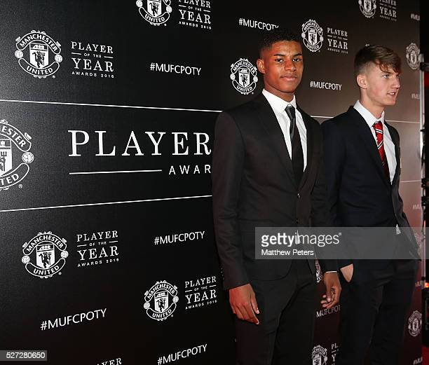 Marcus Rashford and Callum Gribbin of Manchester United arrive at the club's annual Player of the Year awards at Old Trafford on May 2 2016 in...