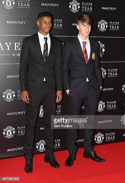Marcus Rashford and Callum Gribbin of Manchester United arrives at the club's annual Player of the Year awards at Old Trafford on May 2 2016 in...